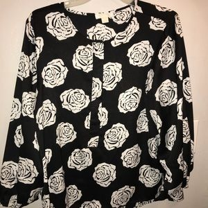Black and White Rose Blouse